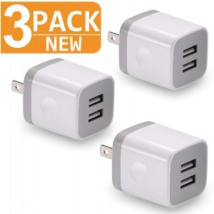 USB Charger, 2.1A/5V Dual 2-Port USB Plug Charger Wall Plug Power Adapter Fast Charging Cube Compatible with Apple iPhone, iPad, Samsung Galaxy, Note, HTC, LG and More (White) 3-Pack