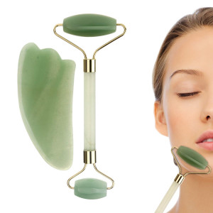 Jade Roller and Gua Sha Massage Tool Set, 100% All-Natural jade, Highly Potent, Anti Aging Wrinkle, Facial Massager Therapy, Clears Toxins, Reduces Puffiness, Double Neck Healing Slimming Massager