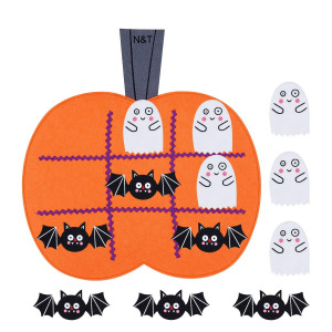 NandT NIETING Halloween Felt Tic Tac Toe Game Pumpkin Board Games for Kids Halloween Harvest Party Decoration Supplies( 6pcs Bats and 6pcs Ghosts)