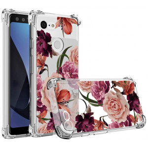 Google Pixel 3 Case,Pixel 3 Flower Case,Mustaner Shock-Absorption Flexible TPU Rubber Soft Silicone Full-Body Protective Cover for Google Pixel3 (Clear Flower)