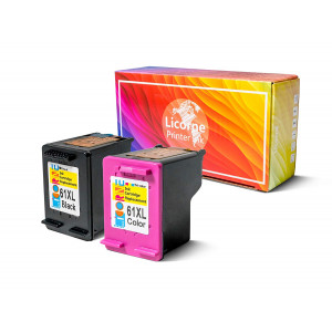 Licorne 61XL Remanufactured Ink Cartridge Combo Pack Compatible for HP 61XL 61 XL High Yield (Black and Color) for HP Envy 4500 5530 5534 Deskjet 1000 1512 2540 3050 3510 2510 Officejet4630 2620 Printer