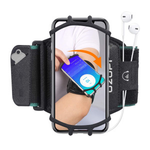 Sports Running Armband Exercise Phone Arm Band 360Rotatable 4 to 6.5 inch Workout Cell Phone Holder with Key Holder for Hiking Biking Jogging Walking Black