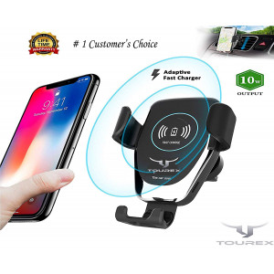 Wireless Car Charger Mount, By TouRex Gravity Car Mount Air Vent Phone Holder, 10W Charge for Samsung Galaxy S9 S8 S7 Edge, Note, Standard Charge for iPhone X, 8/8 Plus and Qi Enabled Devices