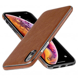 DIACLARA iPhone Xs Max Leather Case Compatible with iPhone 6.5'' Brown Cover Electroplating Luxury Stylish Sleeves Ultra Slim and Thin Soft TPU Bumper Anti-Slip Scratch Resistant Cases (Brown, 6.5)