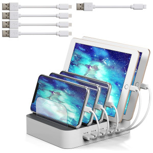 IMLEZON 5 Charging Station Multi Port USB Charger Station for Multiple Devices with 5 Cables