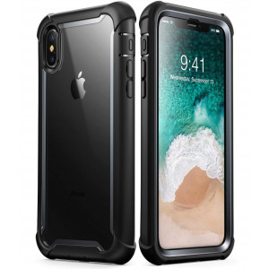 i-Blason iPhone XS Case, iPhone X Case [Ares] Full-Body Rugged Clear Bumper Cover with Built-in Screen Protector for iPhone XS 5.8 Inch (2018 Release) (Black)