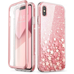iPhone Xs Max Case, [Built-in Screen Protector] i-Blason [Cosmo] Full-Body Glitter Bumper Case for iPhone Xs 6.5 Inch 2018 Release (Pink)