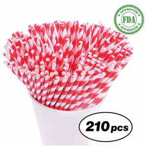 Biodegradable Paper Straws - 210 Bulk Drinking Straws for Restaurant or Party Supplies - The Eco Friendly Paper Straw by LVLY - Red and White Striped