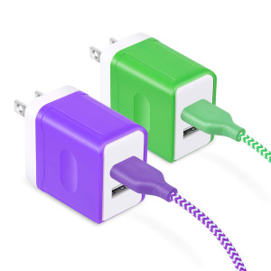 OKRAY 2 Pack USB Dual-Port Universal Travel Charger, Wall Phone Charger with 2 Pack 6 Ft USB Data Charge Sync Cable Compatible for Android, Samsung, LG, HTC, and More - ETL Certified (Green Purple)