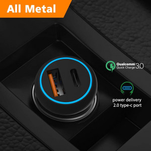 Type C USB Car Charger Power Delivery 2.0 Quick Charge 3.0 12V/24V Cigarette Lighter Outlet Adapter Car Socket Splitter with 1 PD and 1 QC 3.0 36W for MacBook iPad Pixel iPhone Samsung Cell Phone