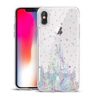 Unov Case Clear with Design Slim Protective Soft TPU Bumper Embossed Pattern [Support Wireless Charging] Cover for iPhone Xs Max 6.5 Inch(Watercolor Castle)