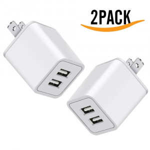 USB Charger, 5V Dual 2-Port 2.4 Amp Wall Charger USB Plug Charger Wall Plug Power Adapter Fast Charging Cube Compatible with Apple iPhone, iPad, Samsung Galaxy, Note, HTC, LG and More (White) 2-Pack