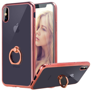 """Casetego Compatible iPhone Xs Max Case,Slim Clear Soft Lightweight Shock Absorbing TPU Bumper Cover with Metal Built-in Ring Grip Phone Stand for Apple iPhone Xs Max 6.5"""",Rose Gold"""