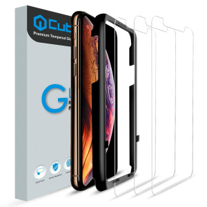 Cubevit iPhone Xs Max Screen Protector, [3 Pack] iPhone Xs Max Tempered Glass Screen Protector, Easy Installation/Bubble-Free/Premium HD Glass Screen Protector for Apple iPhone Xs Max 6.5 inch (2018)