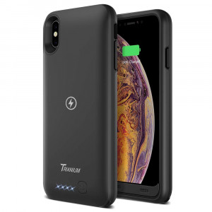 Battery Case with Qi Wireless Charging Compatible Designed for iPhone Xs Max, Trianium 3500mAh [Black] Rechargeable Juice Power Charger Battery Case for iPhone Xs / 10s Max [Apple Certified Part]