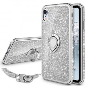 VEGO Case for Apple iPhone XR 6.1 inch,Glitter Case Bling Diamond Rhinestone with Kickstand Ring Grip Girls Women Case for iPhone XR(Silver 6.1in)