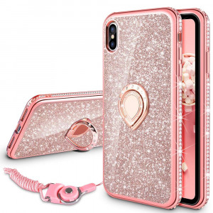 VEGO Case for Apple XS Max iPhone 6.5 inch,Glitter Case Bling Diamond Rhinestone with Kickstand Ring Grip for Girls Women Case for iPhone Xs Max (Rosegold 6.5 inch)