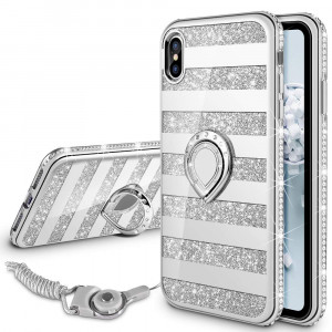 VEGO Case for Apple iPhone Xs Max 6.5 inch,Glitter Case Mirror Striped Bling Cute Rhinestone with Kickstand Ring Grip for Girls Women Case for iPhone Xs Max (Stripe Silver 6.5in)