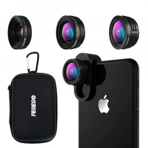 FEGEGO Phone Camera Lens Kit,0.65X Wide Angle Lens+ 230 Fisheye Lens + 15X Macro Lens,Clip-On Lenses for iPhone XR/XS/ XS MAX/X/ 8 7 6 Plus, Samsung Smartphones