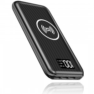 KEDRON Portable Charger Power Bank 24000mAh Wireless Charger Compatible Cellphone,Android Phones,Tablet and More with LED Digital Display 3 Outputs and Dual Inputs External Battery Pack(Black)
