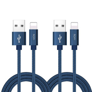 RoFI Phone Charger Cable, [2Pack 2 Feet] Nylon Braided Fast Charging USB Cord 0.6M Compatible Phone X 8 8 Plus 7 7 Plus 6s 6s Plus 6 6 Plus 5 5S 5C SE Air Mini and Car Display (Blue)
