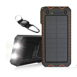 TRONOE Solar Charger,12000mAh Portable Charging Case External Backup Battery Pack Dual USB Solar Phone Charger with 2LED Light Carabiner for Your Smartphones and More (Orange)