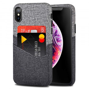VEGO Wallet Case for iPhone Xs Max 6.5 inch, Card Pocket Case with Card Slot Holder, Non-Slip Twill Canvas Style Synthetic Leather Excellent Grip, Soft Fiber Cloth Lining Compatible iPhone Xs Max
