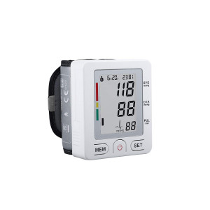 Fam-health Automatic LCD Digital Wrist Monitor with Heart Rate Detection-90 Groups Memory-Large Cuff Adjusts-Time and Date with Memory Store Last Readings White