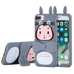 "TopSZ Totoro Case for iPhone 8 Plus /7 Plus /6 6s Plus +5.5""Silicone Rotatable Kickstand 3D Cartoon Animal Stand Cover,Kids Girls Teens Boys Cool Cute Kawaii Soft Character Gel Cases for iPhone8 Plus"