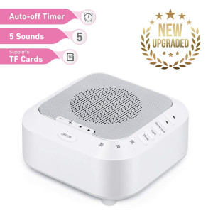 White Noise Machine Sound Machine for Babies  Sleep Therapy Machine Support TF Card Playback, 5 Relaxing Soothing Sounds  Rechargeable Sleep Sound Machine for Kids, Tinnitus Sufferer, Light-Sleeper