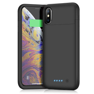 Battery Case for iPhone x/xs, Xooparc 5200mAh Protective Portable Charging Case Rechargeable Extended Battery Pack for Apple iPhone X and XS (5.8') Backup Power Bank Cover - Black