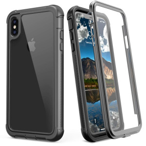 JUSTCOOL iPhone XS Max Case, Clear Full Body Heavy Duty Protection with Built-in Screen Protector Shockproof Rugged Cover for iPhone X Max Case (2018) 6.5 Inch