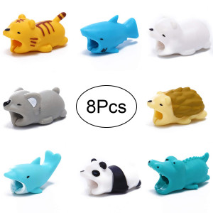 Cable Bite - 8 Pcs - Cute Animal Cable Protector Compatible with Phone USB Cords Sleeves