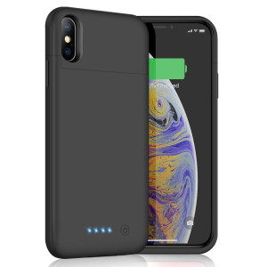 Battery Case for iPhone Xs Max, 6200mAh Slim Portable Charger Case Rechargeable Extended Battery Pack for Apple iPhone Xs Max (6.5 Inch) Protective Charging Case Backup Cover Power Bank - Black