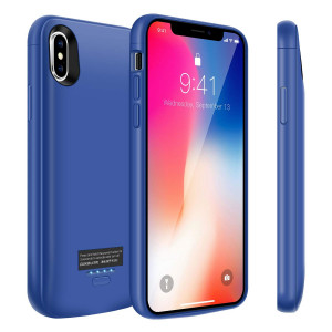 iPhone X Battery Case, 4000mAh Slim Portable Battery Charger Case, Rechargeable Extended Battery Pack Charging Case for iPhone X/iPhone 10, Compatible with Wired Headphones-Blue