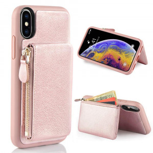 """LAMEEKU Wallet Zipper Leather Case for Apple iPhone Xs Max, 6.5-Inch, Protective Credit Card Holder Slot Money Pocket Purse Cases, Bumper Cover compatible with iPhone Xs Max 6.5"""" (2018) Rose Gold"""