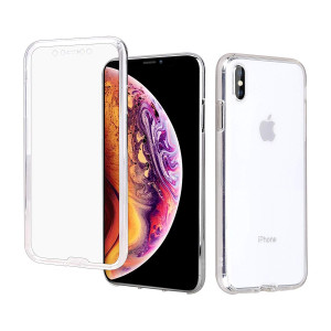 """Casetego Compatible iPhone Xs Max Case,360 Full Body Two Piece Slim Crystal Transparent Case with Built-in Screen Protector for Apple iPhone Xs Max 6.5"""",Clear"""