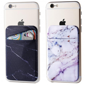 Marble Adhesive Phone Pocket,Cell Phone Stick On Card Wallet Sleeve,Credit Cards/ID Card Holder(Double Secure) 3M Sticker Back iPhone,Android All Smartphones (Black,Purple)