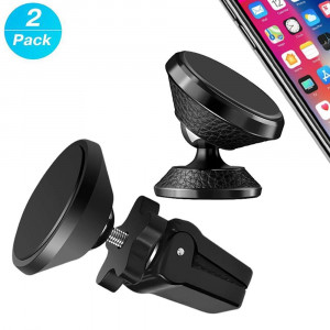 2 Pack Car Phone Mount Magnetic for Air Vent and Dashboard Universal Car Mount Holder Compatible with Any Phone and Mini Tablets - Include 2 Pack Leather Metal Magnet and 2 Pack Metal Magnet