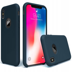 UGT iPhone X Case, Liquid Silicone Rubber Shockproof Case Microfiber Cloth Lining Compatible with Apple iPhone X 2017 (ONLY), Midnight Blue