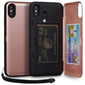 TORU CX PRO iPhone Xs Max Wallet Case Pink with Hidden Credit Card Holder ID Slot Hard Cover, Strap, Mirror and Lightning Adapter for Apple iPhone Xs Max (2018) - Rose Gold