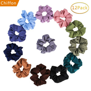 Scrunchies for Hair Chiffon - 12 Pcs Elastic Hair Bands Scrunchy Hair Ties Ropes Scrunchie for Women or Girls Hair Accessories - 12 Assorted Colors Scrunchies(Solid color)...