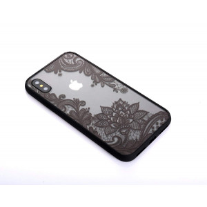 HUIYCUU Case Compatible with iPhone Xs Max,Henna Lace Flower Pattern Slim Fit Case Soft Bumper Border Matte Hard Back Cover Girls Paisley Datura Design for iPhone Xs Max Plus Case,Black Mandala