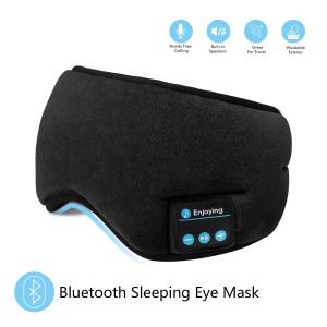 Bluetooth Sleeping Eye Mask Headphones,SKYEOL 4.2 Wireless Bluetooth Headphones AdjustableandWashable Music Travel Sleeping Headset with Built-in Speakers Microphone Hands-Free for Sleeping (Black)
