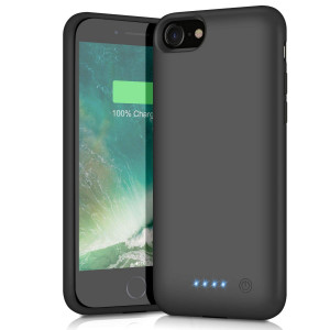 Battery Case for iPhone 8/7, 6000mAh Portable Rechargeable Battery Pack Charger Case for Apple iPhone 8 iPhone 7 [4.7 Inch] Extended Charging Case Protective Power Bank Backup Cover - Black