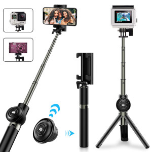 Selfie Stick Tripod, Pobon Bluetooth Selfie Stick with Remote Shutter, Extendable Monopod for iPhone Xs Max/XS / XR/X / 8/8 Plus / 7/6, Galaxy S9 / S8 / Note 9, Gopro, Digital Camera (Black)