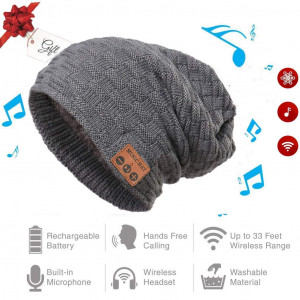 Bluetooth Beanie | Bluetooth Hat | Wireless Headphones Hat Cap | Beanie For Jogging Travel Running | For Men Women | Warm Music Hat | Built in Microphone | Washable Knit Hat | For Christmas Tech Gifts