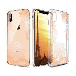 "Casetego Compatible iPhone Xs Case,Clear Soft Flexible TPU Case Rubber Silicone Skin with Flowers Floral Printed Back Cover for Apple iPhone Xs 5.8"",Gold Flower"