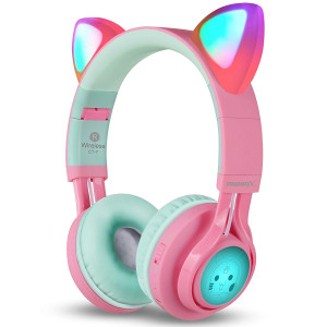 Riwbox Bluetooth Headphones, Riwbox CT-7 Cat Ear LED Light Up Wireless Foldable Headphones Over Ear with Microphone and Volume Control for iPhone/iPad/Smartphones/Laptop/PC/TV (PinkandGreen)