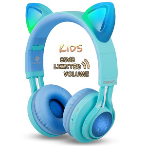 Kids Headphones, Riwbox CT-7S Cat Ear Bluetooth Headphones 85dB Volume Limiting,LED Light Up Kids Wireless Headphones Over Ear with Microphone for iPhone/iPad/Kindle/Laptop/PC/TV(BlueandGreen)